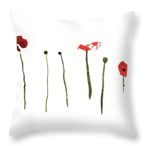 Poppy Throw Pillow featuring the painting Red Poppies by Stephanie Peters