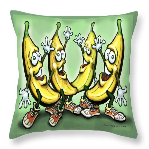 Banana Throw Pillow featuring the painting Bananas by Kevin Middleton
