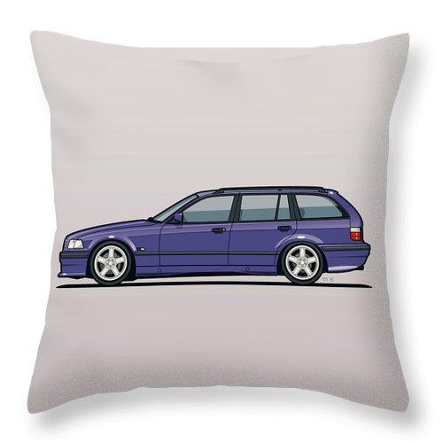 Automotive Art Throw Pillow featuring the digital art Bmw E36 328i 3-series Touring Wagon Techno Violet by Monkey Crisis On Mars