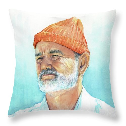 Bill Murray Throw Pillow featuring the painting Bill Murray Steve Zissou Life Aquatic by Olga Shvartsur
