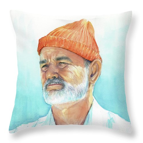 Bill Murray Throw Pillow featuring the painting Bill Murray Steve Zissou Life Aquatic by Olga Shvartsur