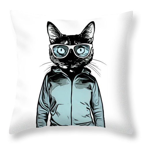 Cat Throw Pillow featuring the mixed media Cool Cat by Nicklas Gustafsson