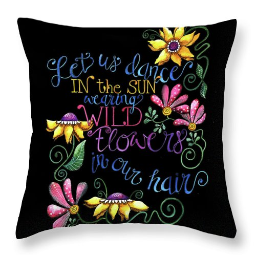 Typography Throw Pillow featuring the painting Let Us Dance Two by Shelley Wallace Ylst