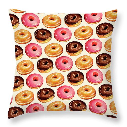 Food Throw Pillow featuring the painting Donut Pattern by Kelly Gilleran