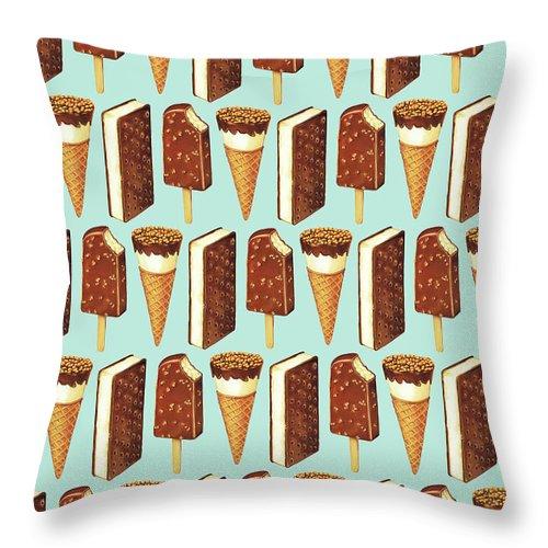 Ice Cream Throw Pillow featuring the digital art Ice Cream Novelties Pattern by Kelly Gilleran