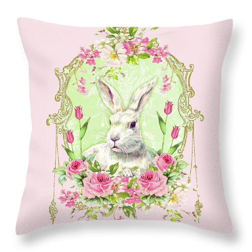 Rabbit Throw Pillow featuring the digital art Spring Bunny by Wendy Paula Patterson