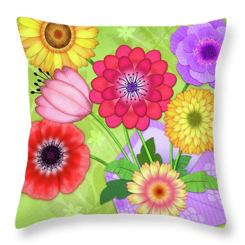 Flowers Throw Pillow featuring the digital art Good News by Valerie Drake Lesiak