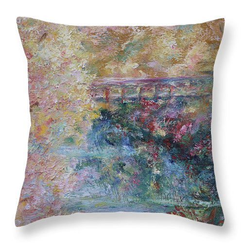 Fall Colors Throw Pillow featuring the painting Birds Boaters And Bridges Of Barton Springs - Autumn Colors Pedestrian Bridge by Felipe Adan Lerma