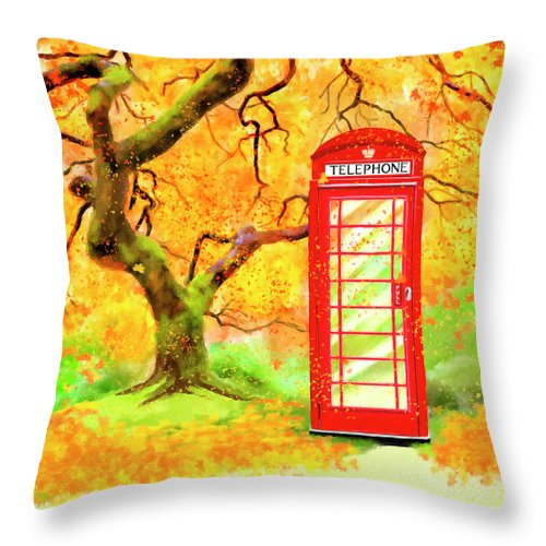 Telephone Throw Pillow featuring the mixed media The Great British Autumn by Mark Tisdale
