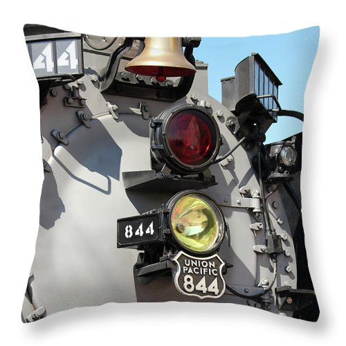 2012 September Throw Pillow featuring the photograph Up 844 Bell And Headlights by Bill Kesler