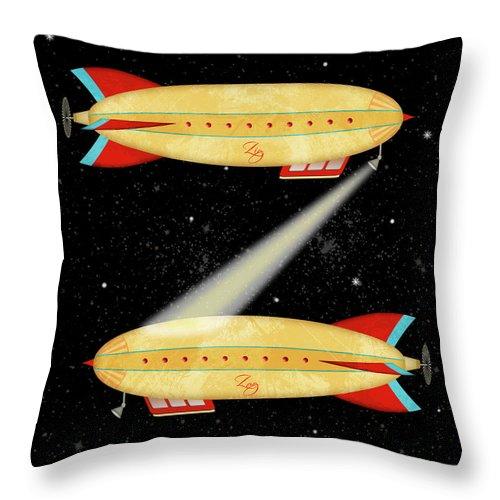 Zeppelin Throw Pillow featuring the digital art Z Is For Zeppelin by Valerie Lesiak