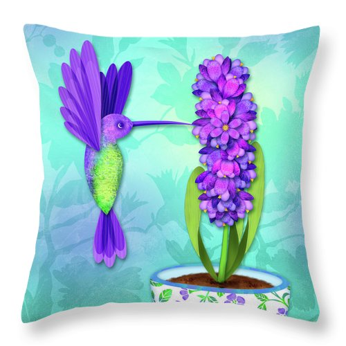 Letter Art Throw Pillow featuring the digital art H Is For Hummingbird by Valerie Drake Lesiak