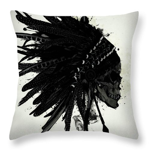 Indian Throw Pillow featuring the digital art Warbonnet Skull by Nicklas Gustafsson