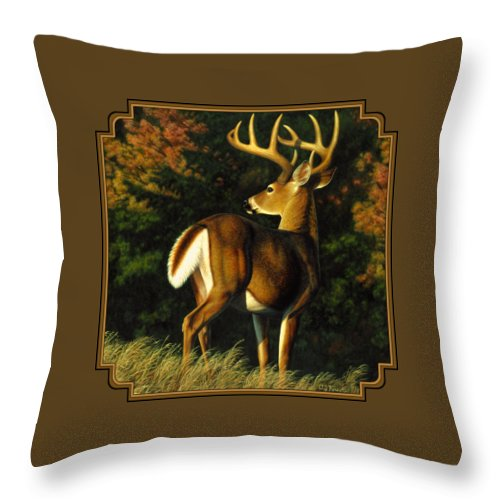 Deer Throw Pillow featuring the painting Whitetail Buck - Indecision by Crista Forest