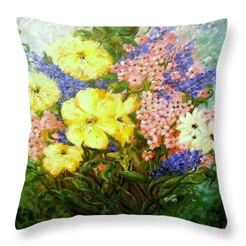 Flower Throw Pillow featuring the painting Give Me Serenity by Eloise Schneider Mote