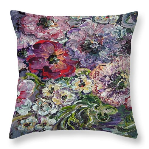 Flower Throw Pillow featuring the painting Bouquet Of Sweetness by Eloise Schneider Mote