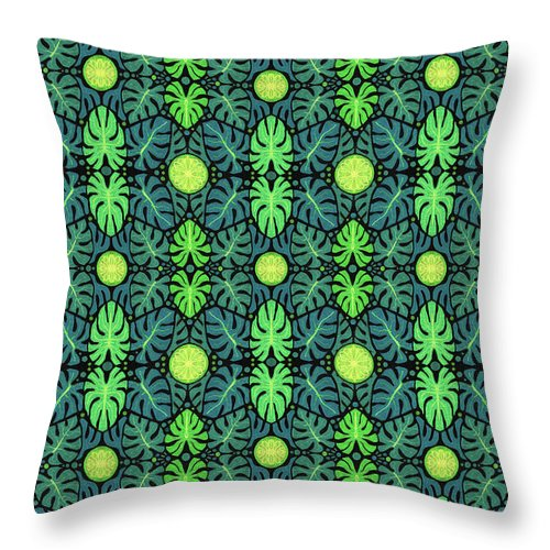 Nature Throw Pillow featuring the mixed media Monstera Leaves Pattern by Julia Khoroshikh