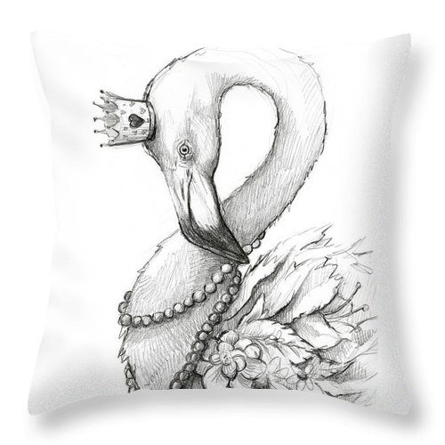 Flamingo Throw Pillow featuring the painting Flamingo In Pearl Necklace by Olga Shvartsur