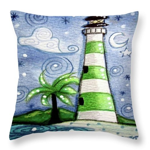 Lighthouse Throw Pillow featuring the painting Green And White Tropical Lighthouse by Monica Resinger