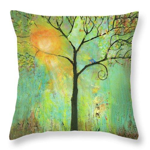 Tree Throw Pillow featuring the painting Hello Sunshine Tree Birds Sun by Blenda Studio