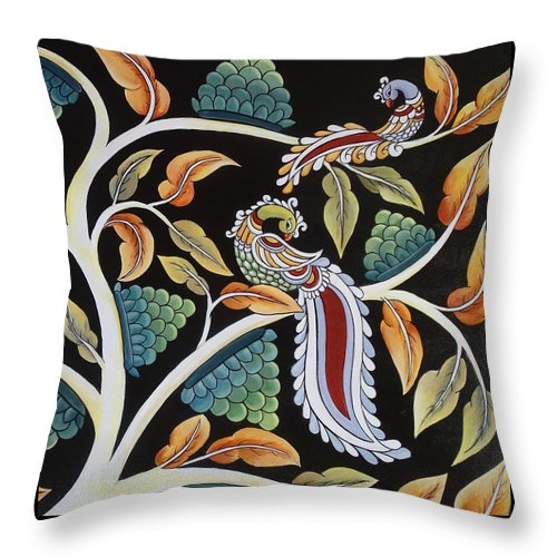 Peacock Throw Pillow featuring the painting At Leisure by Sadhana Desai