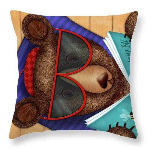 Bear. Brown Bear Throw Pillow featuring the digital art B Is For Brown Bear by Valerie Drake Lesiak
