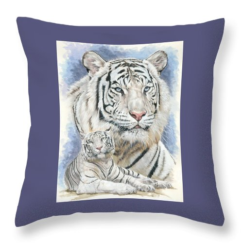 Big Cat Throw Pillow featuring the mixed media Dignity by Barbara Keith