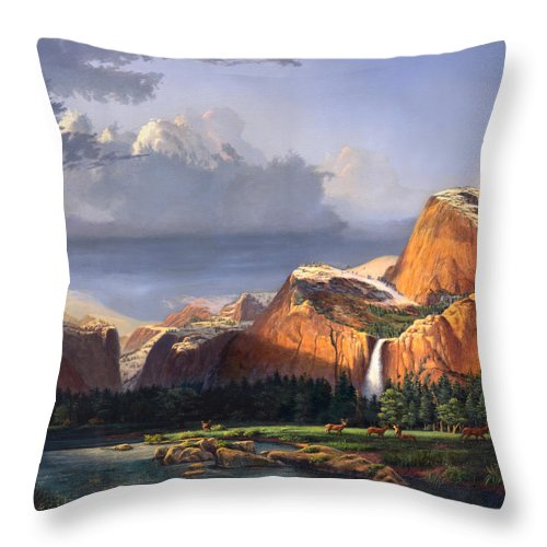 American Throw Pillow featuring the painting Deer Meadow Mountains Western stream Deer waterfall Landscape Oil Painting stormy sky snow scene by Walt Curlee
