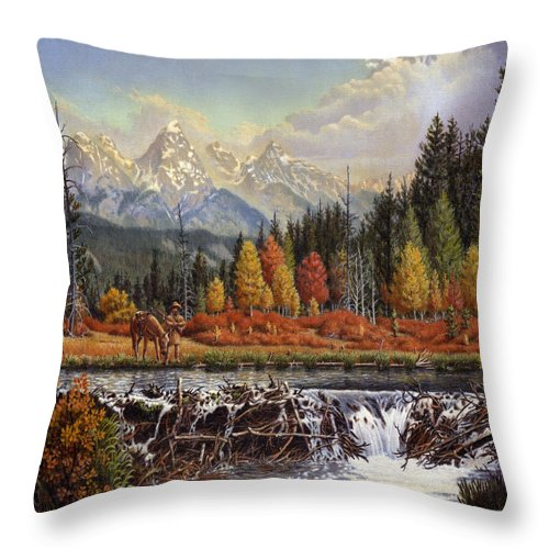 Western Mountain Landscape Throw Pillow featuring the painting Western Mountain Landscape Autumn Mountain Man Trapper Beaver Dam Frontier Americana Oil Painting by Walt Curlee
