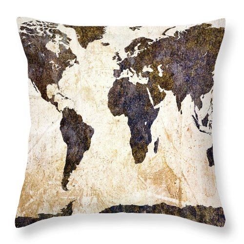 Earth Throw Pillow featuring the painting World Map Abstract by Bob Orsillo