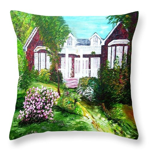 Country Throw Pillow featuring the painting Country Estate In Spring by Eloise Schneider Mote