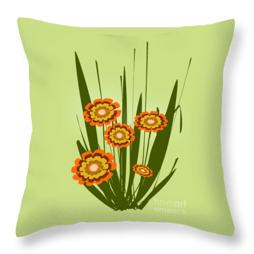 Malakhova Throw Pillow featuring the digital art Orange Flowers by Anastasiya Malakhova