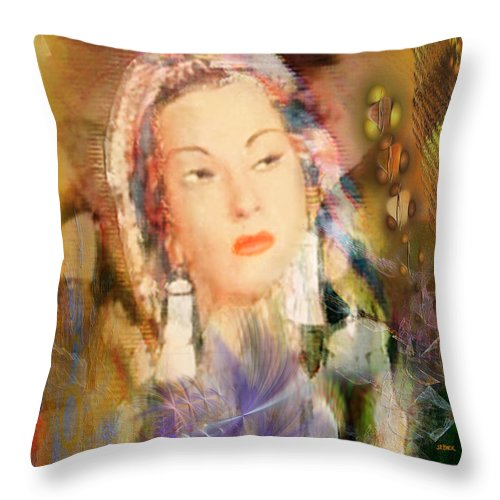 Throw Pillow featuring the digital art Five Octaves - Tribute To Yma Sumac by John Beck