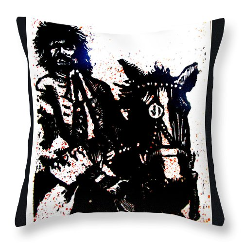 English Highwayman Throw Pillow featuring the mixed media Rogue of the Road by Seth Weaver