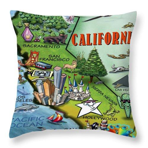 California Throw Pillow featuring the digital art California Cartoon Map by Kevin Middleton