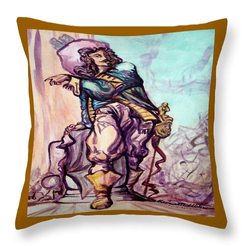 Musketeer Throw Pillow featuring the painting Musketeer by Kevin Middleton
