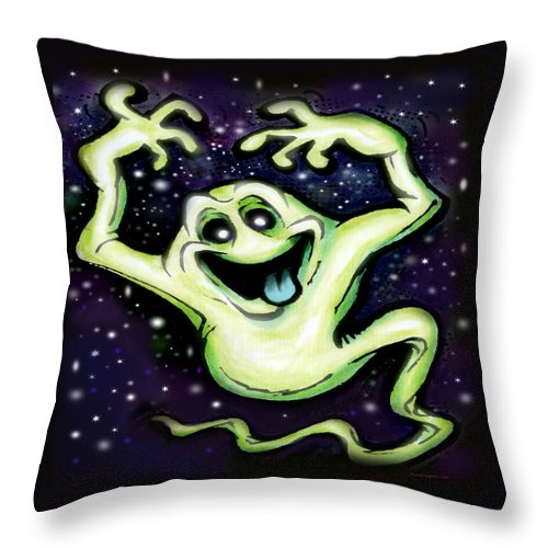 Halloween Throw Pillow featuring the painting Ghost by Kevin Middleton