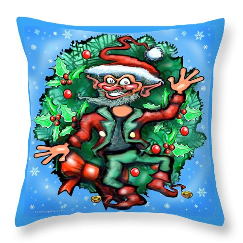Christmas Throw Pillow featuring the digital art Christmas Elf by Kevin Middleton