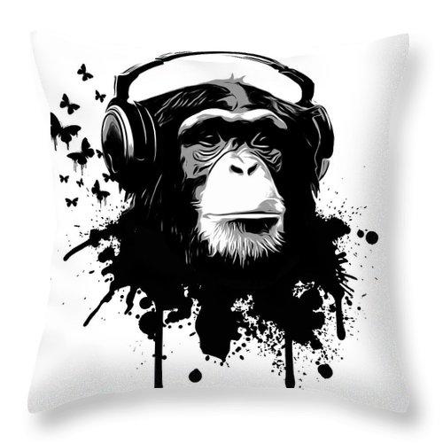 Ape Throw Pillow featuring the digital art Monkey Business by Nicklas Gustafsson