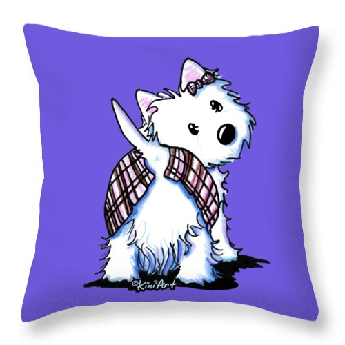 West Highland White Terrier Throw Pillow featuring the drawing Dressed To Kilt Westie by Kim Niles