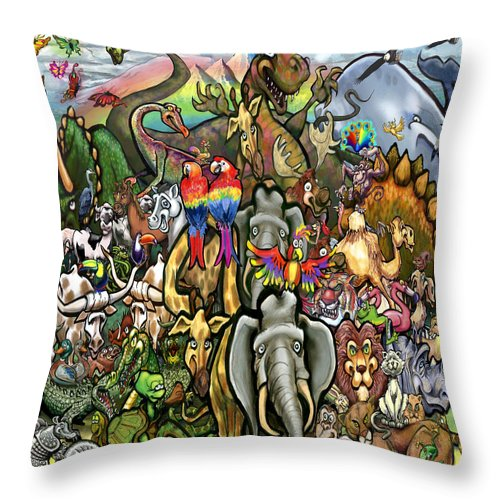 Animal Throw Pillow featuring the painting All Creatures Great Small by Kevin Middleton