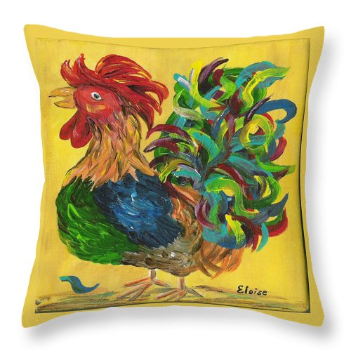Rooster Throw Pillow featuring the painting Plucky Rooster by Eloise Schneider Mote
