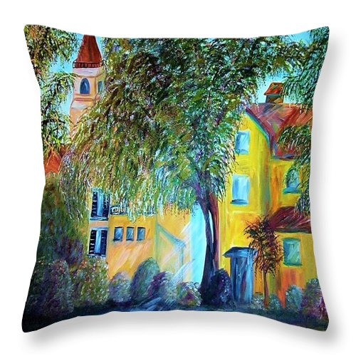 Tuscan Throw Pillow featuring the painting Morning In Tuscany by Eloise Schneider Mote
