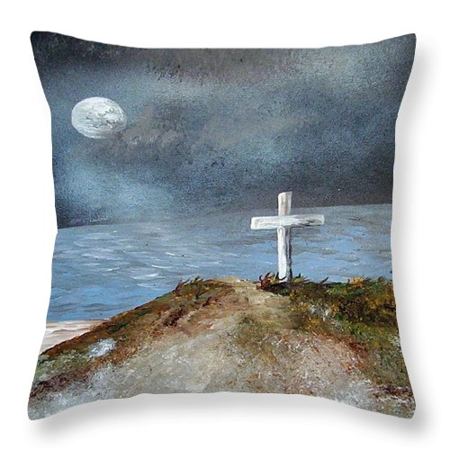 Cross Throw Pillow featuring the painting Pensacola Beach By The Light Of The Moon by Eloise Schneider Mote