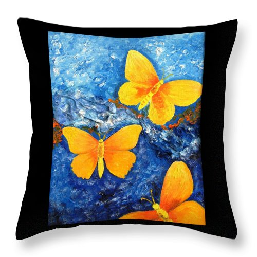 Painting Throw Pillow featuring the painting Butterfly In Blue 1 by Stella Velka