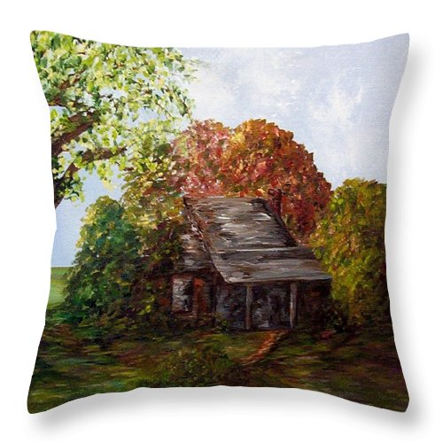 Log Throw Pillow featuring the painting Leaves On The Cabin Roof by Eloise Schneider Mote
