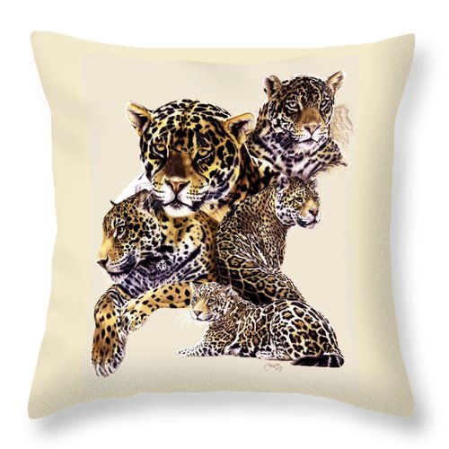 Jaguar Throw Pillow featuring the drawing Burn by Barbara Keith