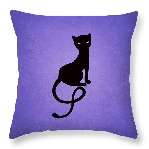Cats Throw Pillow featuring the digital art Purple Gracious Evil Black Cat by Boriana Giormova