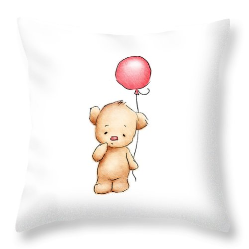 Adorable; Alone; Animal; Art; Artistic; Balloon; Bear; Birthday; Brown; Card; Cartoon; Childish; Color; Colorful; Cute; Digital; Doll; Drawed; Drawing; Drawn; Friendship; Fun; Gift; Graphic; Greeting; Hand; Hand-drawn; Happy; Holiday; Humor; Icon; Illustration; Ink; Little; Love; Lovely; Motif; Nice; One; Painted; Pencils; Pets; Postcard; Pretty; Red; Sketch; Small; Teddy; Toy; White; Teddy; Nursery; Baby; Girl; Boy; Kid; Decor Throw Pillow featuring the drawing Teddy Bear With Red Balloon by Anna Abramskaya