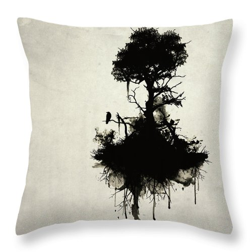 Nature Throw Pillow featuring the painting Last Tree Standing by Nicklas Gustafsson